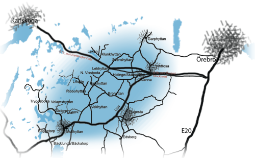 Karta över Kilsbergskanten som ligger mellan Karlskoga och Örebro på östra sidan om Kilsbergen